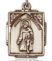 "$76.00 - Square St. Peregrine Medal - .75"" - Gold Filled"