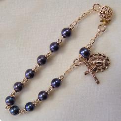 Gold filled black pearl rosary bracelet