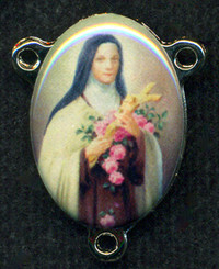 """St. Therese - .75"""" - Nickel Silver and Enamel Centerpiece"""