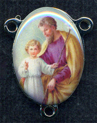 "St. Joseph - .75"" - Nickel Silver and Enamel Centerpiece"