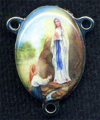 "Our Lady of Lourdes - .75"" - Nickel Silver and Enamel Centerpiece"