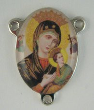 "Our Lady of Perpetual Help - .75"" - Nickel Silver and Enamel Centerpiece"