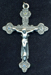 Pewter Crystal Crucifix