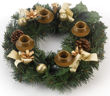 Advent Wreath with Gold Decoration
