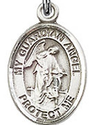 "Guardian Angel - .50"" Oval - Sterling Silver Side Medal"