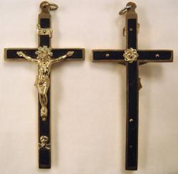 Ebony and Brass Profession Crucifix