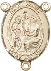 """Holy Family - .75"""" Oval - Gold Filled Centerpiece"""