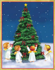 Angels Around Christmas Tree Christmas Card