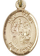 "Holy Family - .50"" Oval - Gold Filled Side Medal"