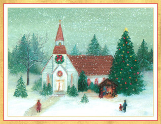 Midnight Mass Winter Scene Christmas Card