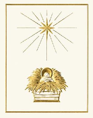 Christ Child in Manger Christmas Card