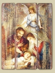Holy Family with Angel Wall Plaque