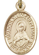 "Immaculate Heart of Mary - .50"" Oval - Gold Filled Side Medal"