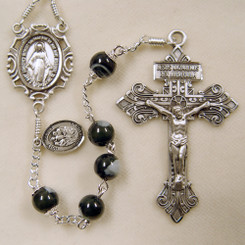 Men's Black Mother of Pearl Rosary