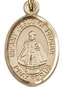 """Infant of Prague - .50"""" Oval - Gold Filled Side Medal"""