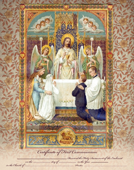 Unframed First Holy Communion Certificate