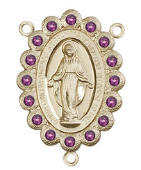 "Miraculous Medal With Amethyst Crystal - .75"" - Gold Filled Centerpiece"