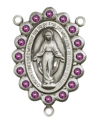 "Miraculous Medal With Amethyst Crystal - .75"" - Sterling Silver Centerpiece"