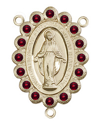 "Miraculous Medal With Garnet Crystal - .75"" - Gold Filled Centerpiece"