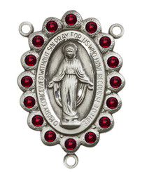 "Miraculous Medal With Garnet Crystal - .75"" - Sterling Silver Centerpiece"