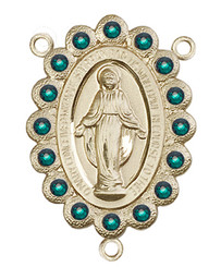 "Miraculous Medal With Emerald Crystal - .75"" - Gold Filled Centerpiece"
