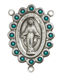 "Miraculous Medal With Emerald Crystal - .75"" - Silver Plated Centerpiece"