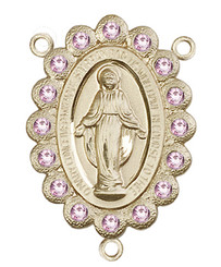 "Miraculous Medal With Light Amethyst Crystal - .75"" - Gold Filled Centerpiece"
