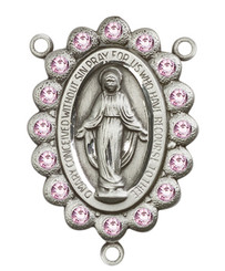 "Miraculous Medal With Light Amethyst Crystal - .75"" - Sterling Silver Centerpiece"