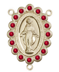 "Miraculous Medal With Ruby Crystal - .75"" - Gold Filled Centerpiece"