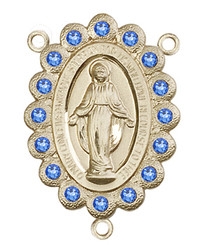 "Miraculous Medal With Sapphire Crystal - .75"" - Gold Filled Centerpiece"