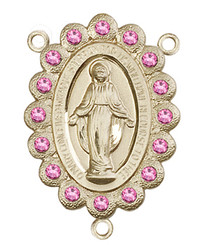 "Miraculous Medal With Rose Crystal - .75"" - Gold Filled Centerpiece"