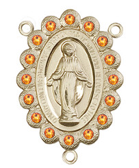 "Miraculous Medal With Topaz Crystal - .75"" - Gold Filled Centerpiece"