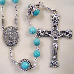 Turquoise Our Lady of Guadalupe rosary