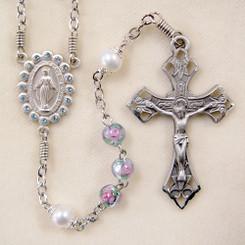 Aqua Lampwork and Pearl Rosary