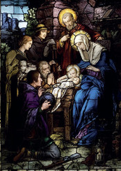 Nativity Stained Glass Christmas Card