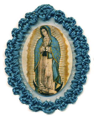 Crocheted relic badge of Our Lady of Guadalupe