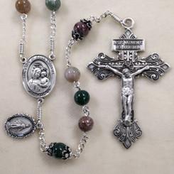 Fancy Jasper Sterling Silver Rosary