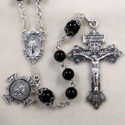 Black Onyx St. Benedict Cross Rosary