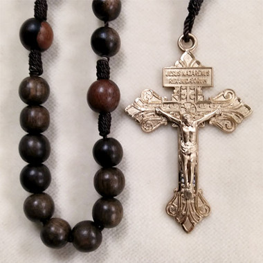 Tiger Ebony and Gold Filled Cord Rosary