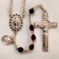 Garnet and Glass St. Benedict Rosary