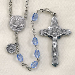 Blue Glass Our Lady of Fatima First Communion Rosary