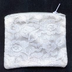 White chantilly lace rosary pouch / rosary case