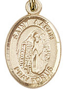 "St. Aaron - .50"" Oval - Gold Filled Side Medal"