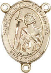 "St. Adrian Of Nicomedia - .75"" Oval - Gold Filled Centerpiece"