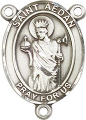 "St. Aedan Of Ferns - .75"" Oval - Sterling Silver Centerpiece"