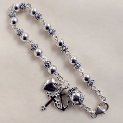 Sterling silver Faith Hope and Charity Rosary Bracelet