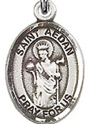 "St. Aedan Of Ferns - .50"" Oval - Sterling Silver Side Medal"