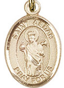 "St. Aedan Of Ferns - .50"" Oval - Gold Filled Side Medal"