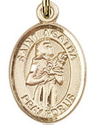 "St. Agatha - .50"" Oval - Gold Filled Side Medal"