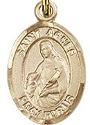 "St. Agnes of Rome- .50"" Oval - Gold Filled Side Medal"